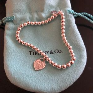 Tiffany beaded silver red heart bracelet